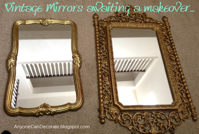 anyone can decorate flea market mirror makeover before after. Black Bedroom Furniture Sets. Home Design Ideas