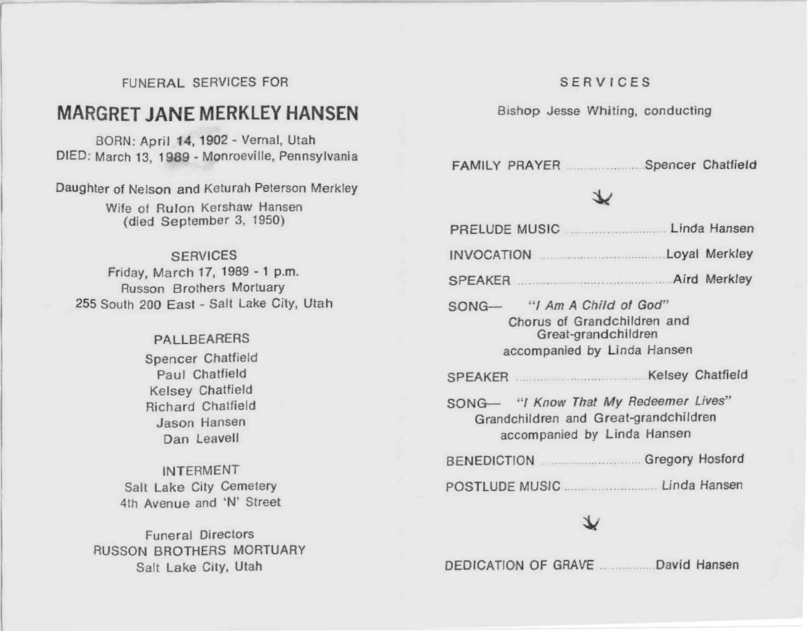Asher And Birda Merkley: Death Info On Margret J. Merkley Hansen  Blank Program Template