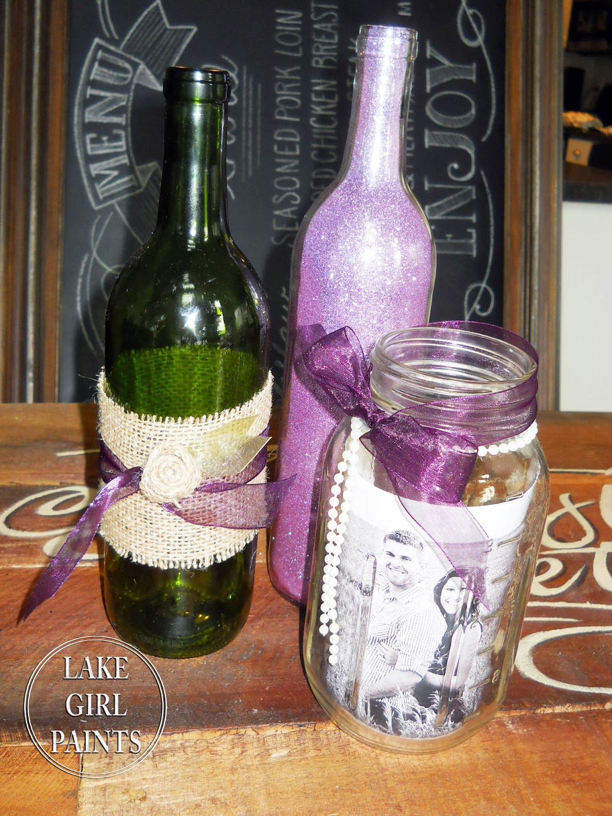Lake girl paints mason jars and wine bottles burlap and for Wine bottle ideas for weddings