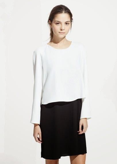 Mango 2015 Elbise Modelleri  klasik kesim elbise, siyah beyaz elbise ,dar kesin elbise