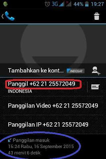 Bukti panggilan masuk no Telp 021 25572049
