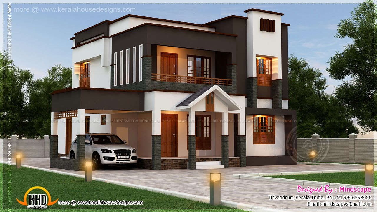 Beautiful villa in 222 square yards kerala home design for Contemporary house plans under 2000 sq ft