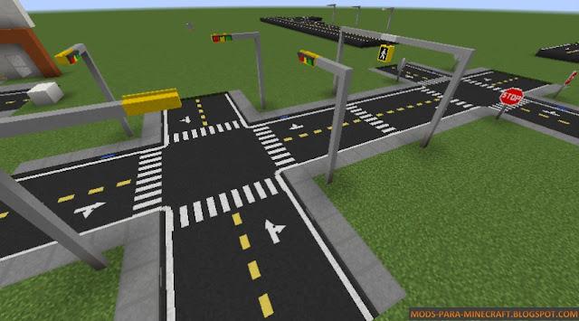 Calles estadounidenses en Minecraft - Road Mod para Minecraft 1.8