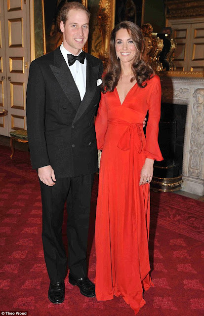 kate middleton long sleeved red gown charity event