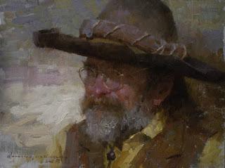 Hombre Con Sombrero Oleo