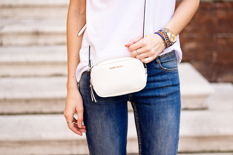 denim with white t-shirt, casual summer outfit