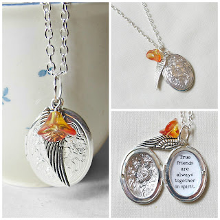 image anne of green gables quote locket necklace jewellery jewelry typography silver two cheeky monkeys wing charm literature true friends are always together in spirit