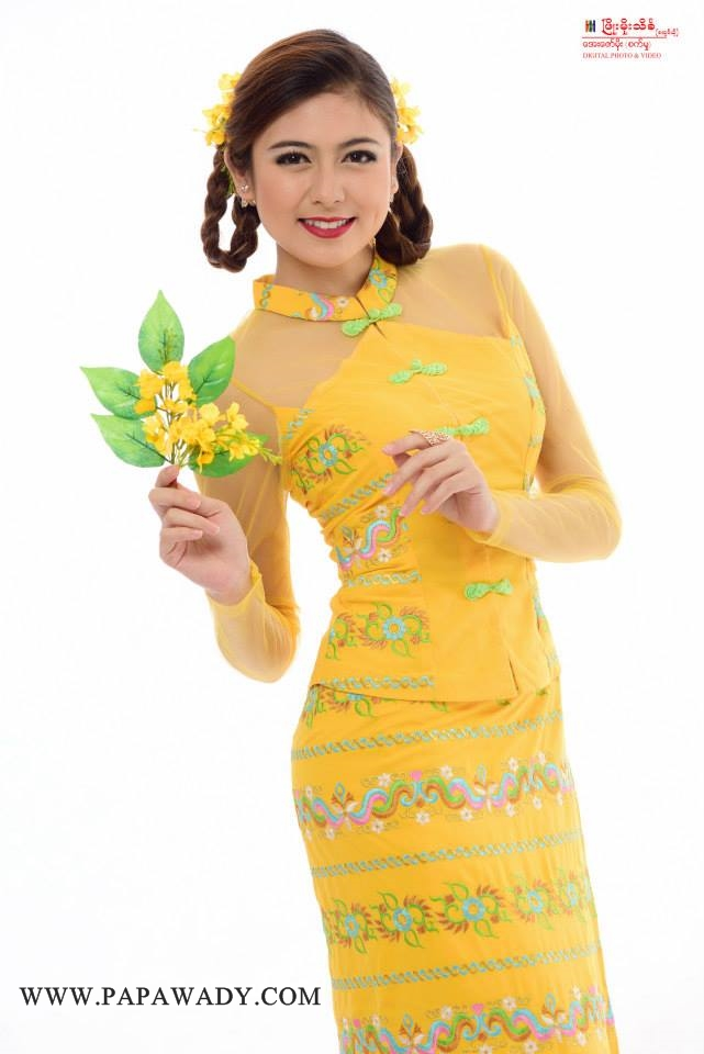 Shwe Thamee - Mingalar Thingyan Photoshoot in Yellow Fashion Dress
