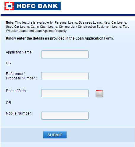 HDFC Personal Loan status Checker