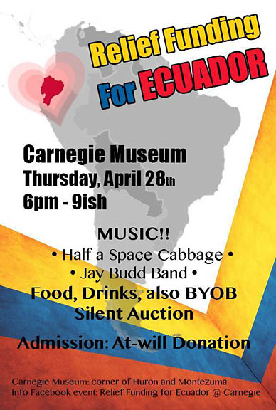 Carnegie to host Ecuador fundraiser Apr. 28