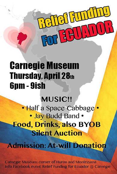 Carnegie to host Ecuador fundraiser Apr. 28