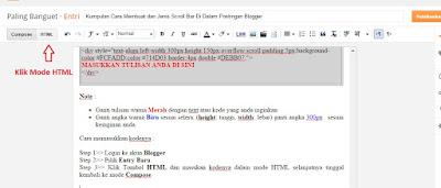 Fig. Cara masuk ke mode HTML Postingan