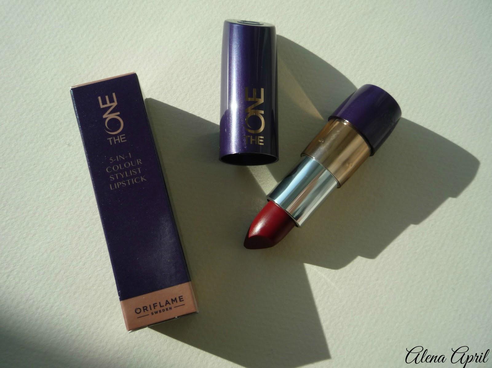 The One 5-in-1 colour stylist lipstick от Oriflame, дымчатый красный, 30674, свотчи, отзыв, помада 5-в-1