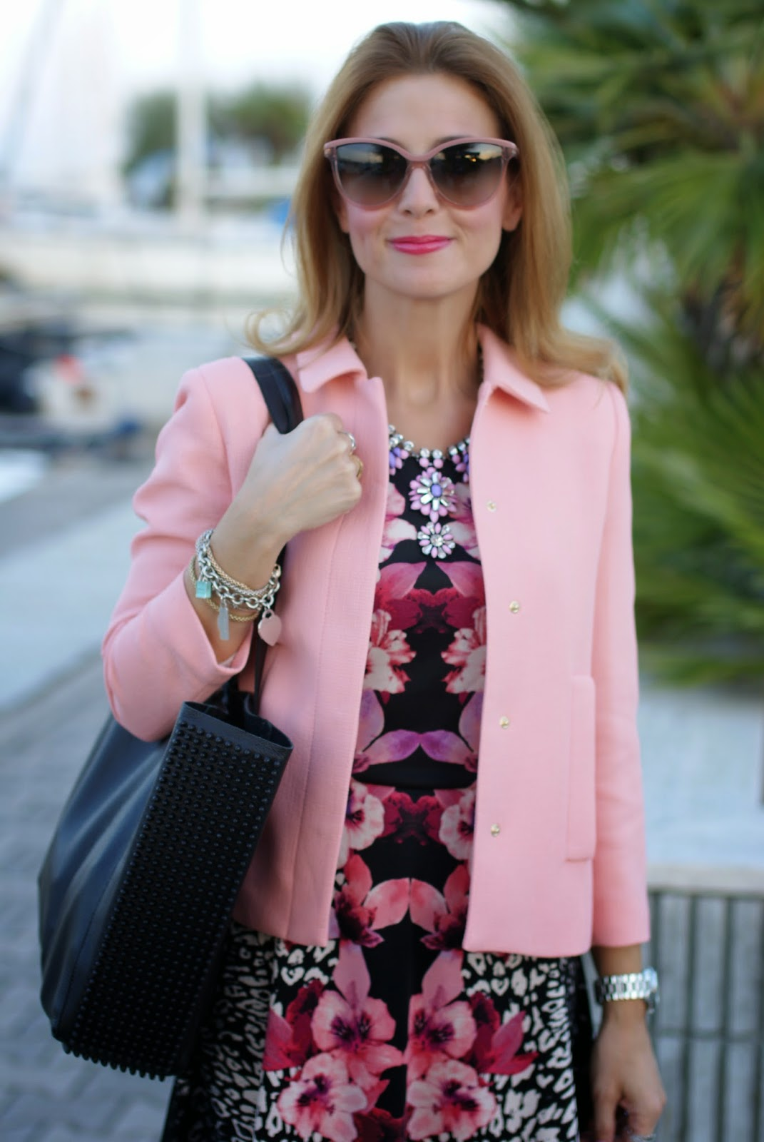pink jacket, h&m tropical dress, low cost outfit, Fashion and Cookies, fashion blogger