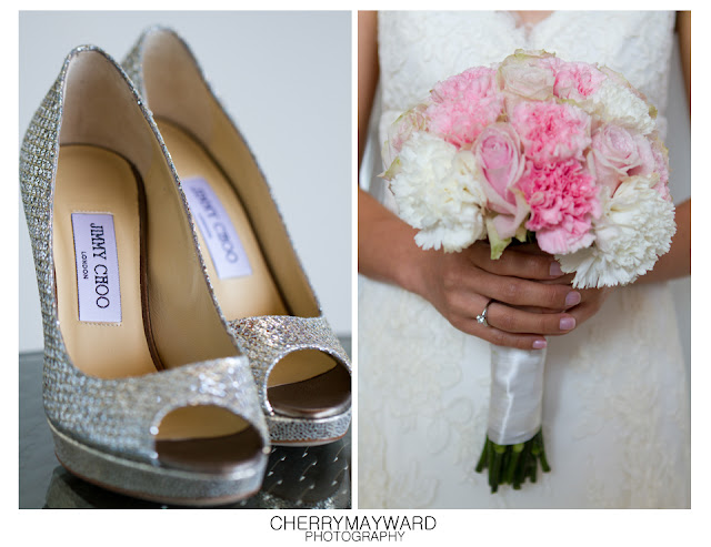 Soft Pink and white bouquet and Jimmy Choo shoes, wedding details.