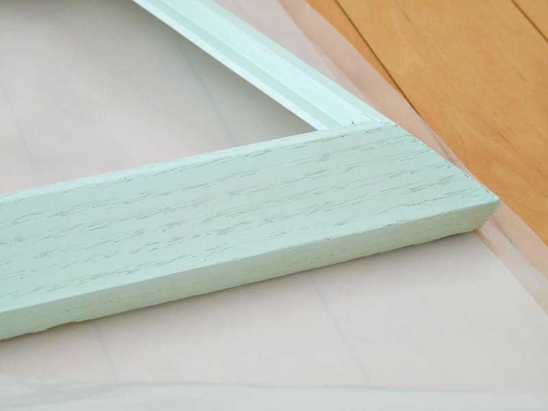 Vintage wood frame painted mint green