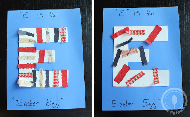Toddler/Preshooler letter of the week craft E is for Easter Egg with related craft, tracing sheets and fruits/vegetables.