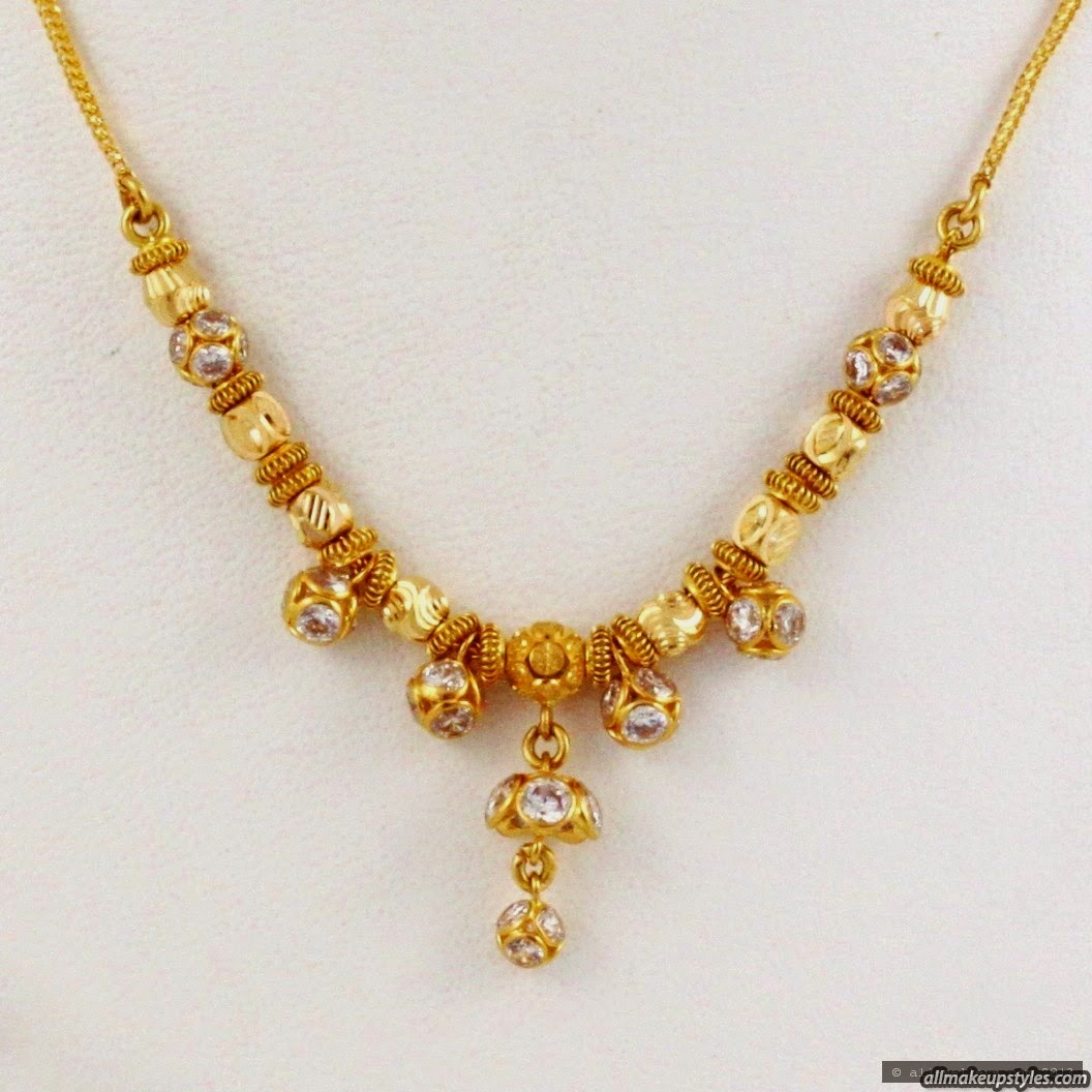 Jewellery Designs : 22 kt Simple Gold Necklace for kids