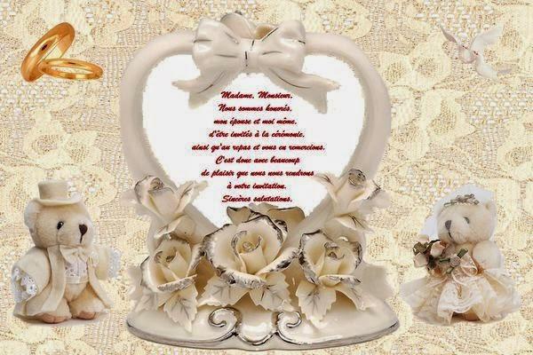 Texte pour une carte de mariage