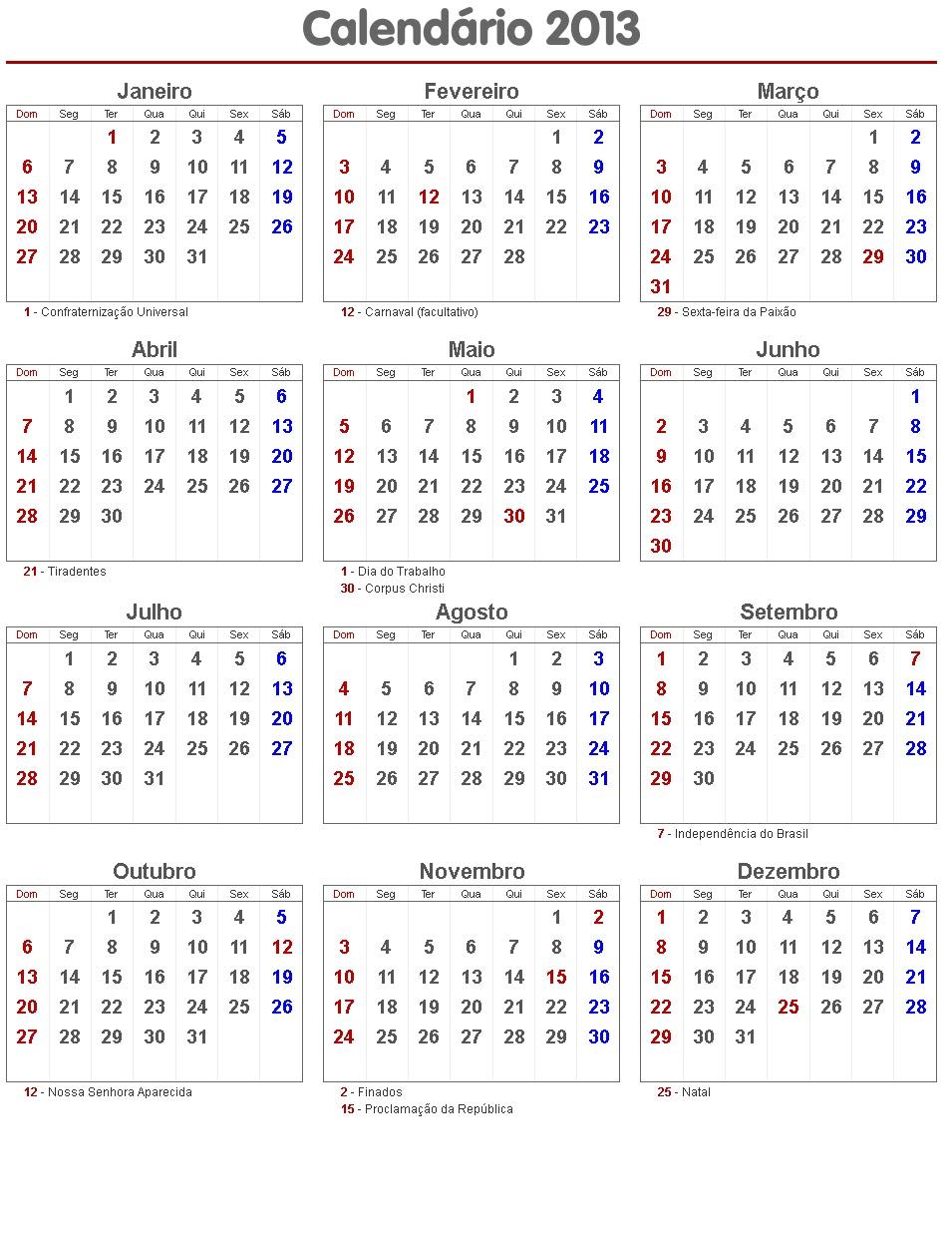 f calendario 2013