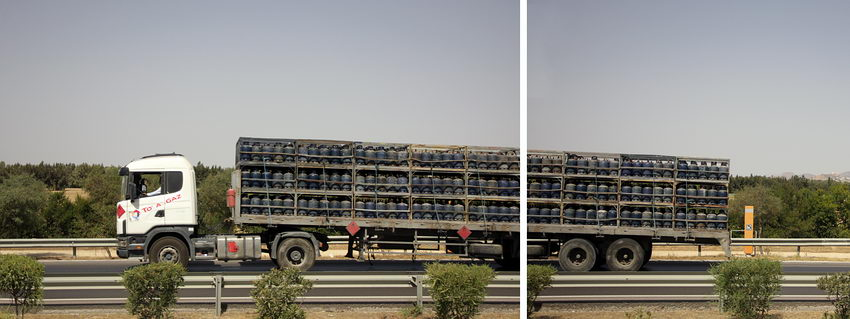 Combinação de duas imagens do mesmo camião. Na da direita, mais pequena, repete-se parte da da esquerda
