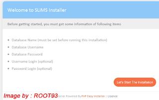 Jendela instalasi pertama SLIMS