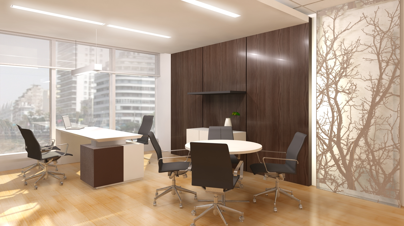 Architectural and interior 3d os office for Director office room design