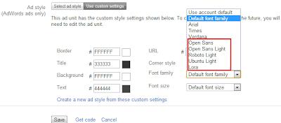 Font for Adsense Ads