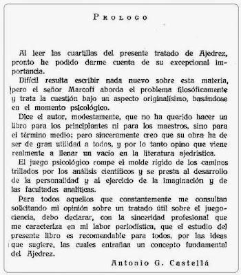"""Prólogo de Antonio G. Castellá del libro """"El Ajedrez (del método psicológico y su evolución)"""""""