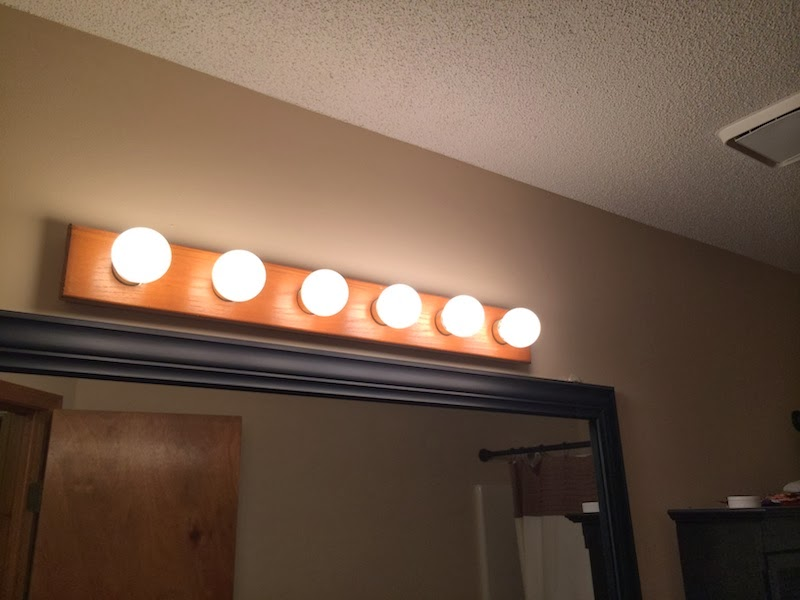 Handy in KS: Updating Old Oak Vanity Light Bar with Bronze Spray Paint