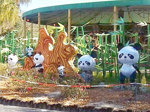 Panda lanterns in front of the carousel at the zoo.