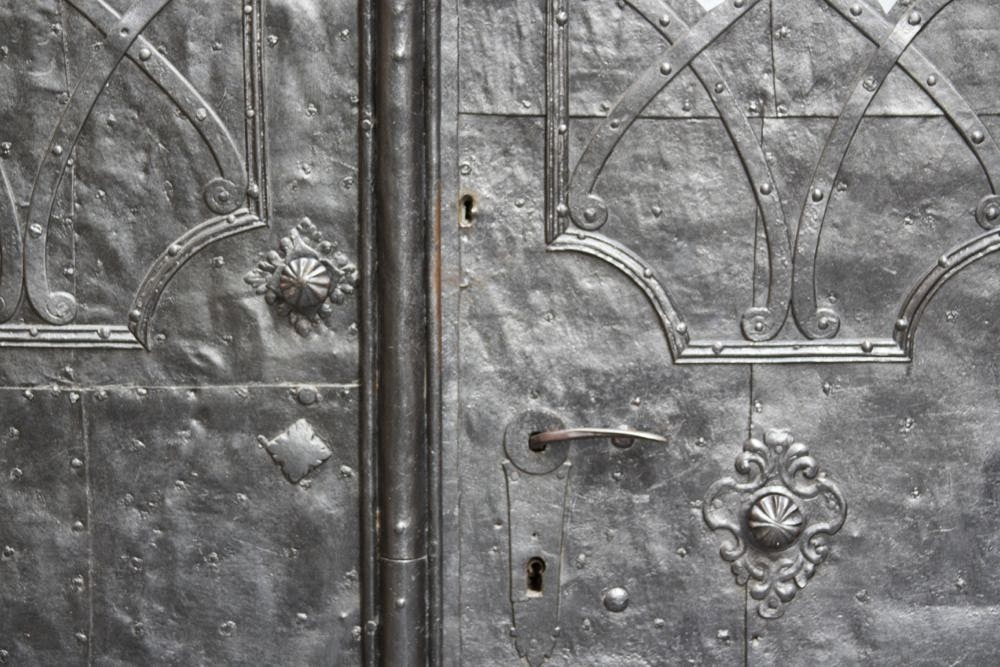 iron door with motives