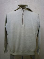 "30's ""HARROWER""                襟付き HALF ZIP.            COTTON TWEED SWEAT SHIRTS with 扇型TALON ZIP."