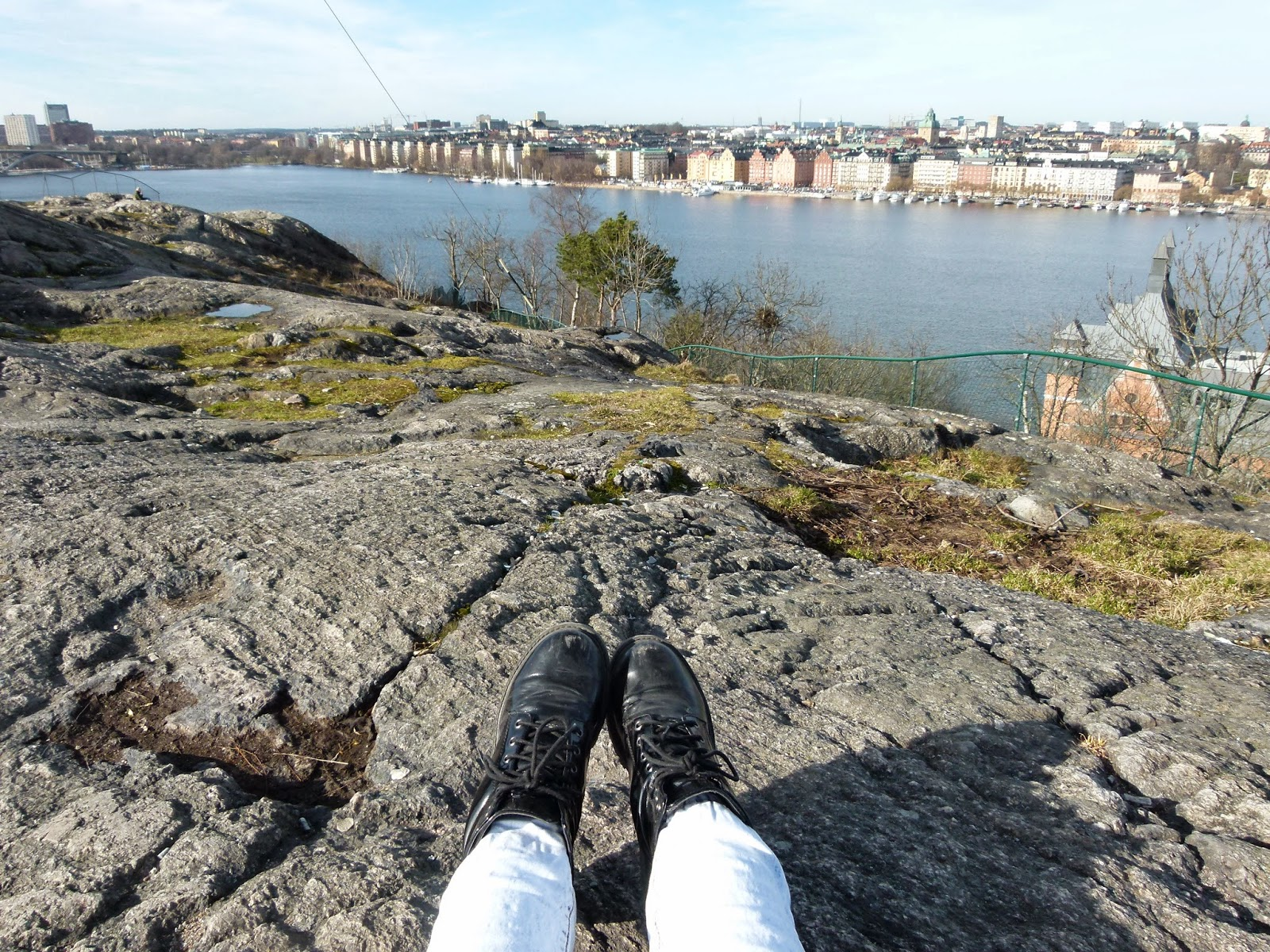 Skinnarviksberget - View on the city and Lake Mälaren from above in Södermalm