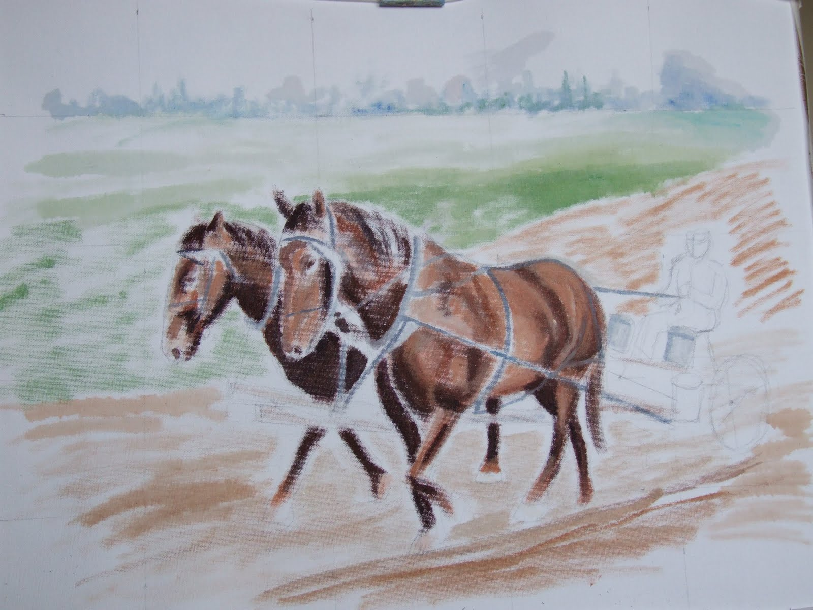 Plough horse oil painting step 2