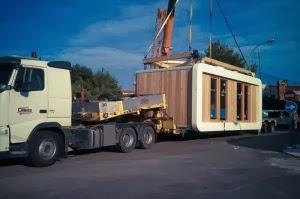 transporte de casas pre-fabricadas, casas modulares, casas de madeira, casas de aco, casas moveis