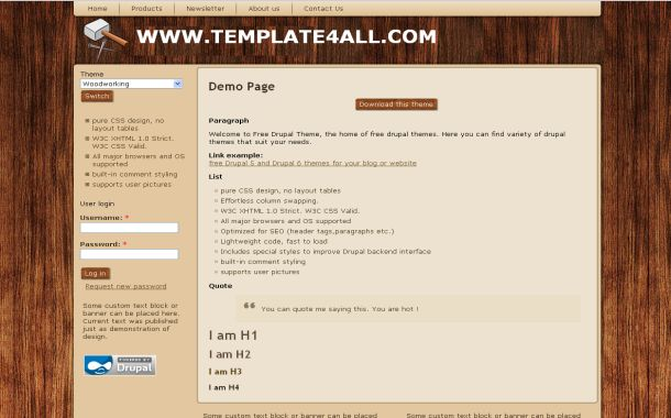 Wooden Grunge Brown Free Drupal Theme Template