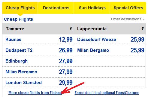 в самом конце списка есть ссылка More cheap flights from .... (страна вылета)...