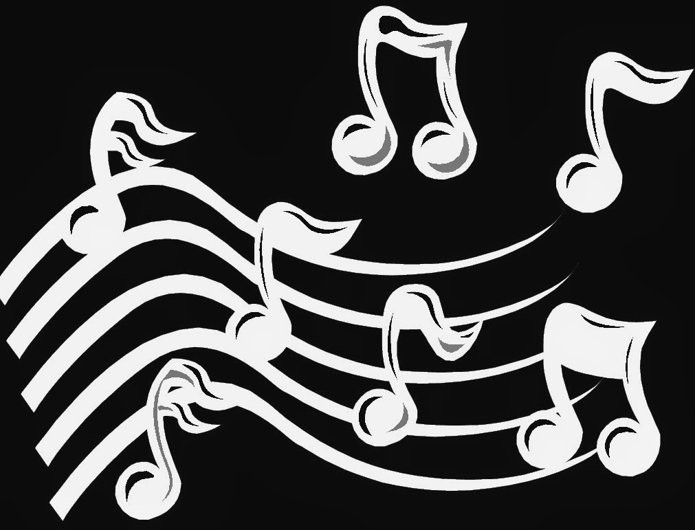 Illustration of Musical notes over a dark background