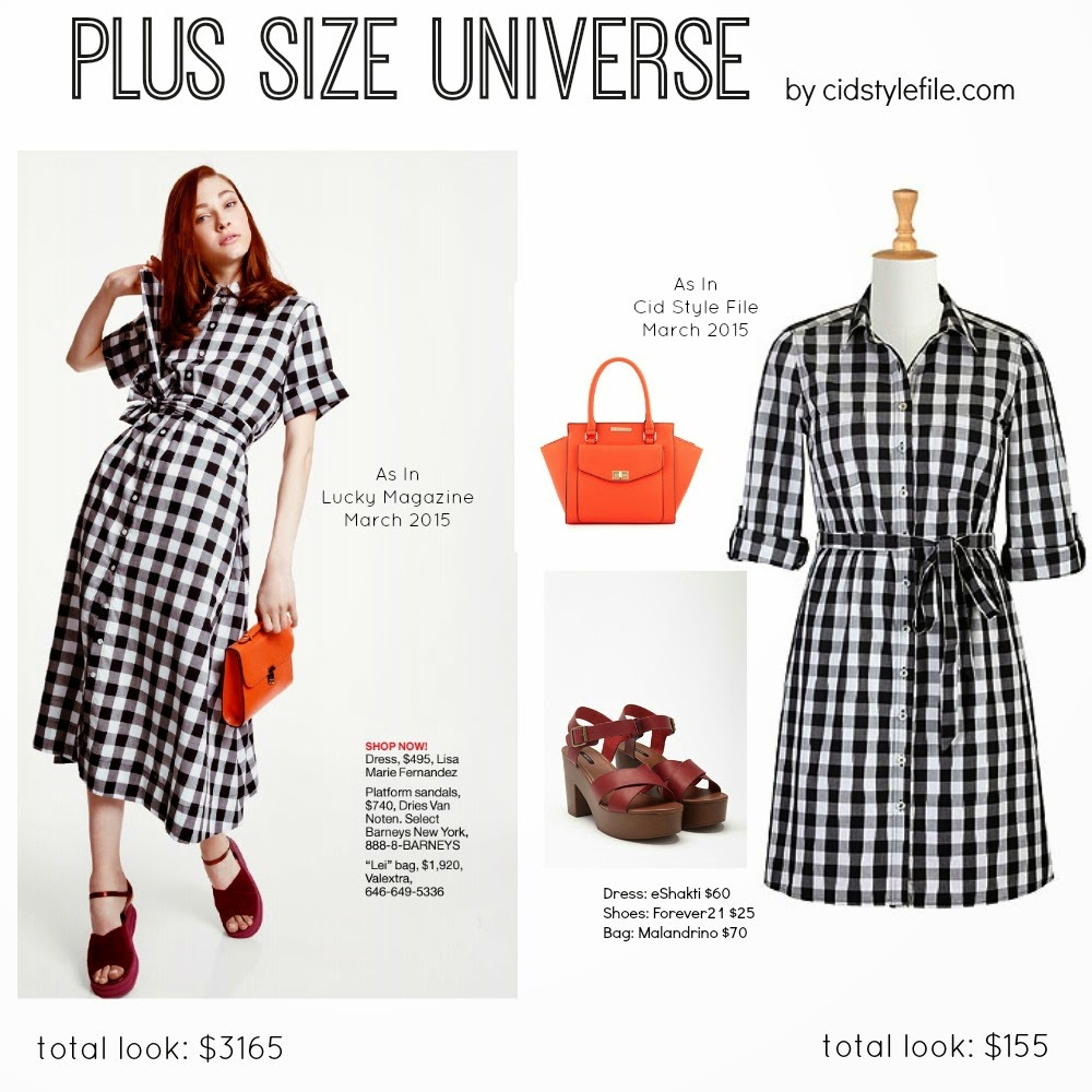 gingham, shirt dress, platform sandals, orange, satchel, lucky magazine, eshakti, forever 21, catherine malandrino, plus size fashion, plus size dresses,