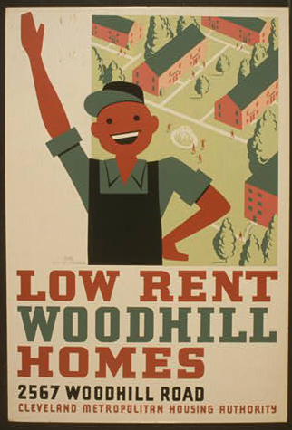wpa, government, public service announcement, public housing, advertising, vintage, vintage posters, graphic design, free download, retro prints, classic posters, Low Rent Woodhill Homes - Vintage Cleveland Metropolitan Housing Authority