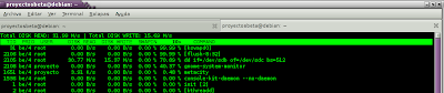 Imagen de utilizando iotop en Debian Squeeze
