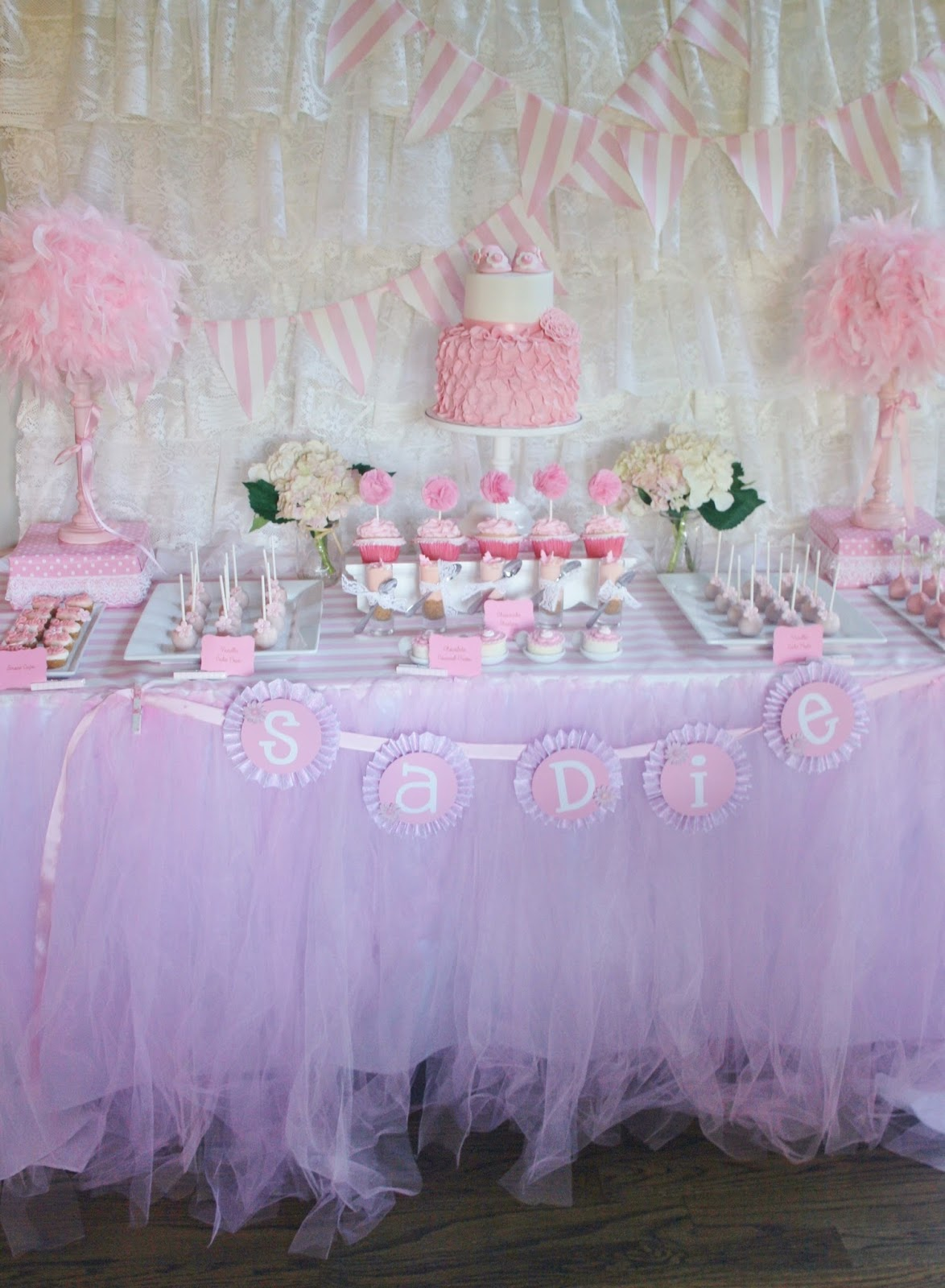 And everything sweet pretty in pink baby shower - Pink baby shower table decorations ...