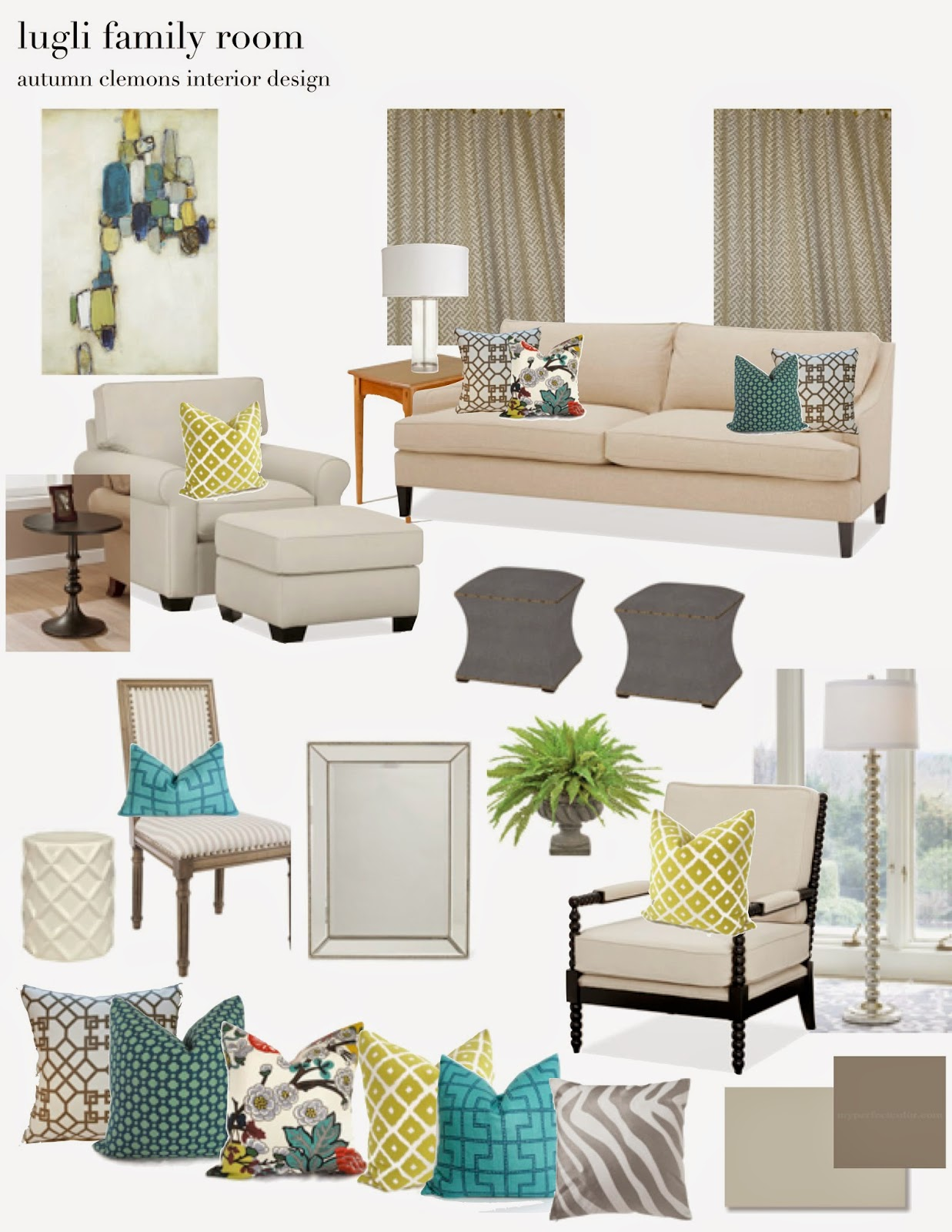 Design Plan: Family Room With Accents In Lime + Teal Part 78
