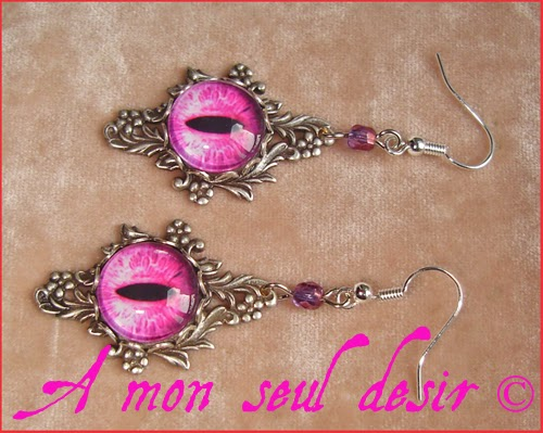 Boucles d'Oreilles Oeil Yeux Dragon Violet Rose Serpent Chat Médiéval Gothique Fantasy Bijou Snake Cat Purple Pink Eyes Gothic Goth Earrings