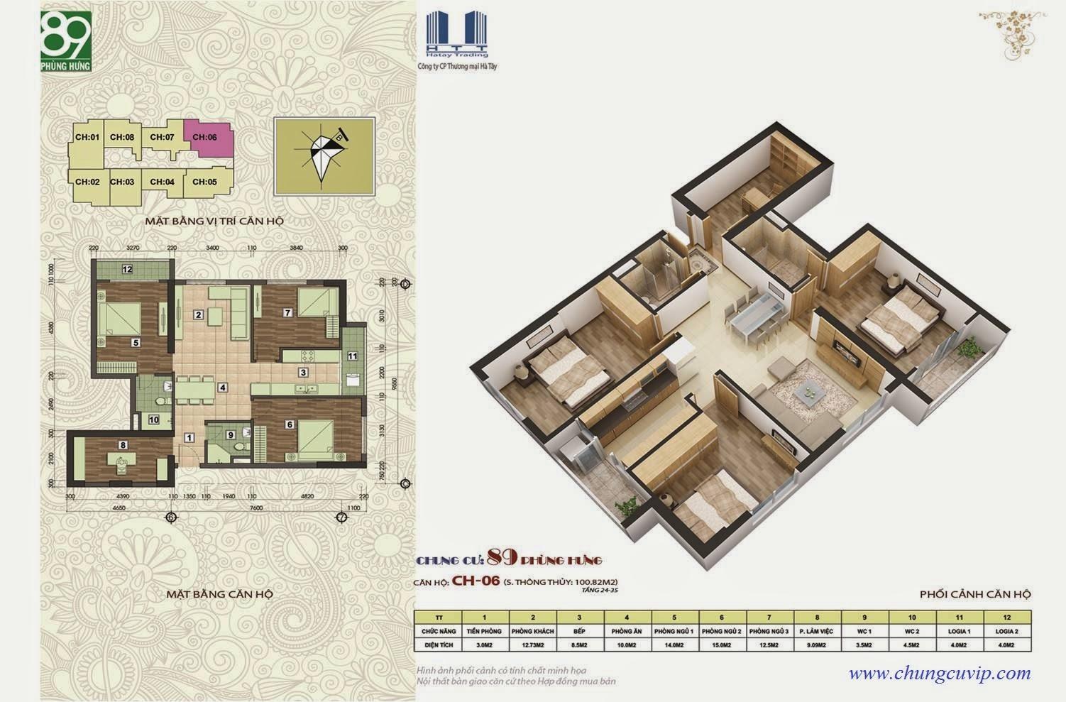 Chung cư 89 Phùng Hưng, Căn 100,82 m2