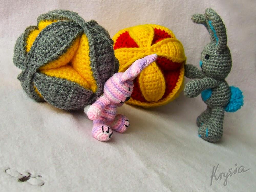 piłki szydełkowe puzzle ball króliczki