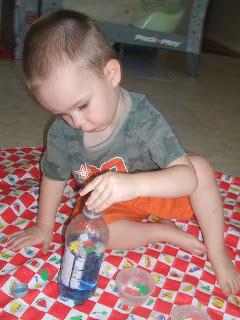 activities for babies, beach sensory bottle
