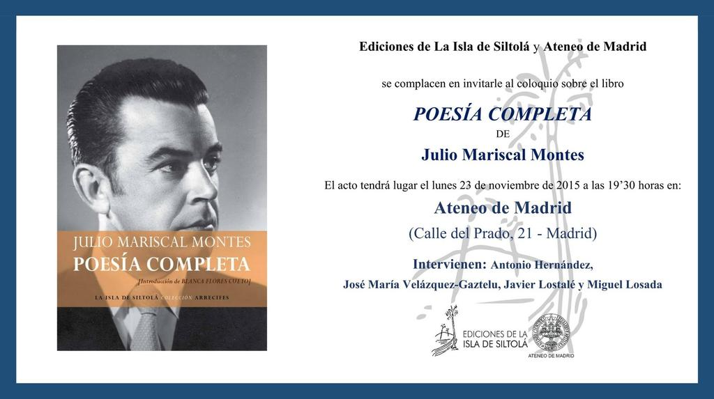 La obra poética de Julio Mariscal Montes