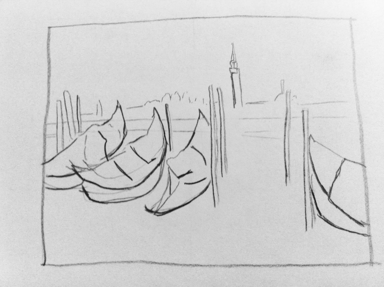 Line Drawing Venice : In colorful waters october